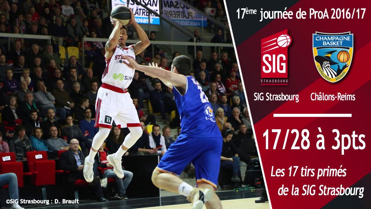 Les 17 paniers à 3pts de la SIG Strasbourg face à Châlons-Reims